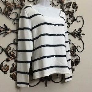 Talbots petites sz large blue white striped sequin